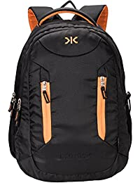 Killer Derby 38L Large Laptop Backpack with 2 Compartments Black Polyester Trendy Water Resistant Travel Backpack
