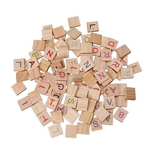 Lorjoy 100 Piezas de Madera Scrabble Azulejos del Alfabeto Juguetes Letras de Madera Azulejos del Alfabeto Artesanía de Madera para los niños