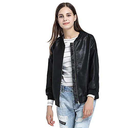 Preisvergleich Produktbild Mäntel Jacken Damen Felicove,  Neuer Damen Ledermantel vielseitiger Motorrad Mantel Ledermantel