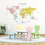 Decowall DMT-1306 Mapamundi de Color Vinilo Pegatinas Decorativas Adhesiva Pared Dormitorio Salón Guardería Habitación Infantiles Niños Bebés (Grande)