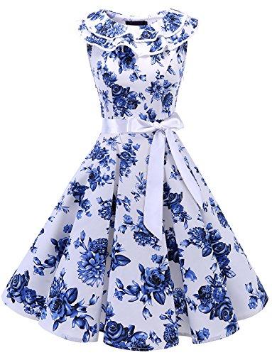 bridesmay Damen 1950er Vintage Retro Rockabilly Ärmellos Sommerkleid Cocktailkleider Partykleid...
