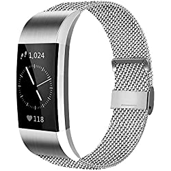 AK Bracelet Compatible pour Fitbit Charge 2 Bracelet en Acier, Remplacement Bracelet de métal de Sport Bande Accessoires pour Fitbit Charge 2 Femmes Hommes (02 Argent, S)