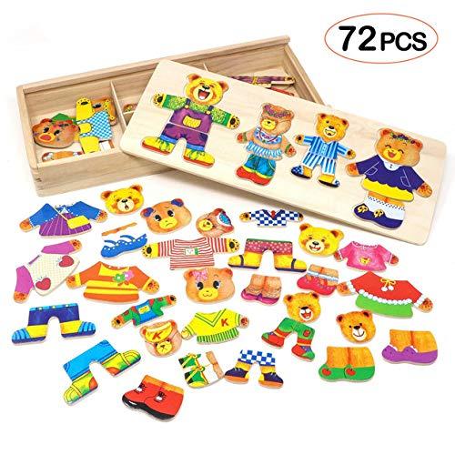 Lewo Puzzle madera Juguetes niñas Familia oso Juegos