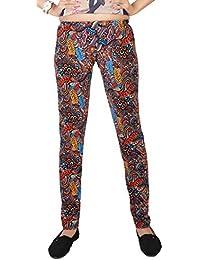 Comix Women Lycra Fabric Comfort Fit Ankle Length Printed Stylish Leggings (Orange,XL)
