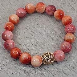Pulsera de perlas de bohemia Thurcolas jade blanco teñido de naranja y oro de filigrana plateada grano