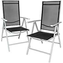 TecTake Juego de 2 Aluminio Sillas de jardín plegable con reposabrazos gris claro/negro