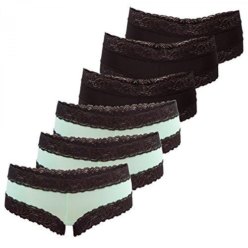 Fabio Farini Damen Pants Panty Hipster in dunklen Farben, mit schwarzer Spitze, Set 15, Größe: 36/38