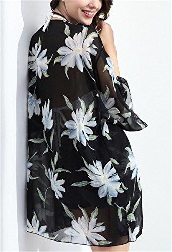 IWFREE Damen Sommer Boho Chiffon Kimono Stil Gedruckt Tops Jacke Cardigan Blusen Beachwear Strand Mantel Bikini Cover Up Schwarz