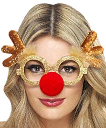Woodega - Unisex Weihnachts Brille + Nase Kostüm - Rentier Geweih glasses, Gold (Süße Santas Helfer Kostüme)