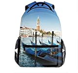 Italy Venice of The Nacelle Outdoor Backpack for Teens Adults Lightweight Travel Backpack