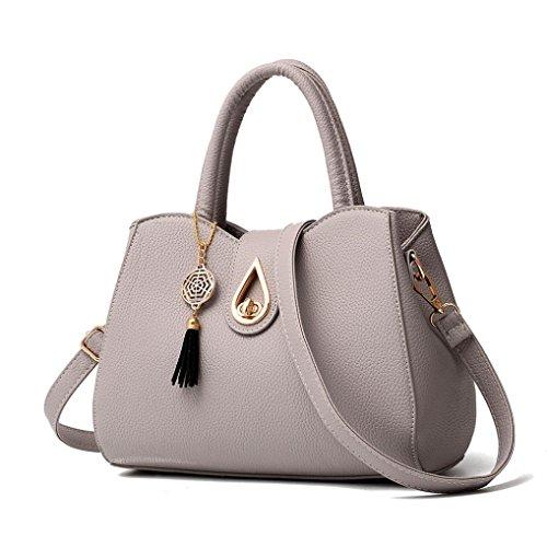 Schultertaschen für Damen Leder Jamicy®Mode Frauen Lichee Muster Umhängetasche Umhängetasche Messenger Bag Grau
