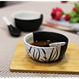 Kittens Hand Painted In Speckled Black N White Ceramic Soup Bowl With Spoon - Set Of 2