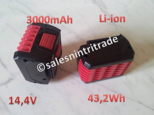 Preisvergleich Produktbild 1x Li-Ion Akku 14,4 V 3000mAh schwarz für Bosch GBH 14,4 V-LI usw. ersetzt 2607336078, 2607336149, 2607336150, 2607336224, 2607336318
