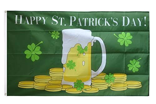 St. Patrick's Day Bierkrug + gratis Sticker, Flaggenfritze® (St Patricks Day Fahne)