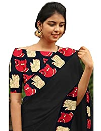 Indian Style Present Women's Black Colour Chanderi Cotton Kalamkari Design Printed Blouse & Border Saree Sarees...