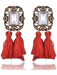 Aashya Mayro Alluring White Semi-Precious Stone Gold Oxidized Red Tassel Earring For Women girls.CLICK EXTRA COUPON DISCOUNT OF RS. 30