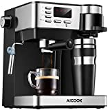 Cafetiere Aicook, Cafetiere Italienne 3 in 1(Cafetiere Expresso 15 bars Cafetiere Américaine...