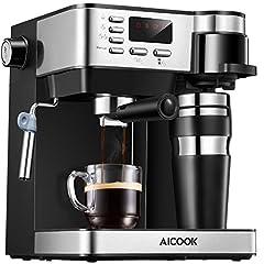 Idea Regalo - Macchina caffe Aicook, Macchina per Caffe 3 in 1(Macchina Caffe Americano Macchina Caffe Espresso da 15 bar Macchina Professionale con Montalatte), Tazza thermos in Regalo