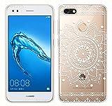 Sunrive Für Huawei Y6 Pro 2017 Hülle Silikon, Transparent Handyhülle Schutzhülle Etui Case Backcover für Huawei Y6 Pro 2017 / P9 Lite Mini(TPU Blume Weiße)+Gratis Universal Eingabestift