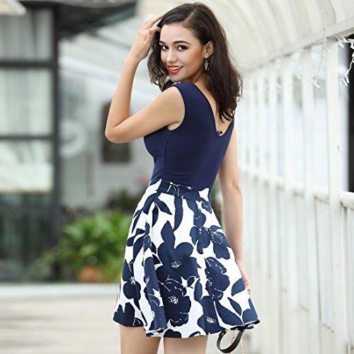 MIUSOL Kleid V-Vusschnitt Armellos Blume Patterned Mini Casual Kleid Navy Blau Gr.XL - 5