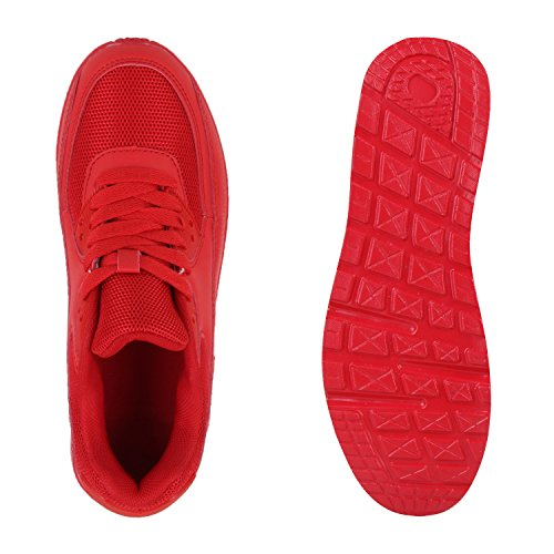 Damen Sportschuhe Laufschuhe Profilsohle Neon Schnürer Runners Rot
