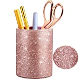 PU Glitter Portapenne Portamatite Tazza Oro Rosa Lucido per Donne Ragazze, Lusso Trucco Porta Pennello PU Pelle Organizzatore Tazza Regalo per Scrivania Ufficio Aula Casa