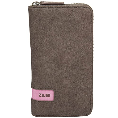 Reißverschluss-geldbörsen Zwei (Zwei Wallet MW2 Reißverschluss Geldbörse Portemonnaie Geldbeutel Brieftasche, Farbe:Nubuk Taupe)