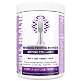Collagen Peptides Protein Powder - Pure Hydrolyzed Bovine Collagen Supplement for Hair, Skin, Nails, Muscle, Bone, Joint, Gut, Sleep, Wrinkles - Keto, Kosher, Halal & Paleo - 400g Tub