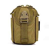 Outdoor Fishing Hiking Mobile Phone Army Small Mini Accessory Waist Pack Tactical Bag MOLLE Phone Pouch Gear Waterproof Belt Pack Hunting Camping Trekking, Brown