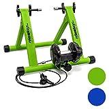 Relaxdays Trainer Pieghevole Bicicletta 7 VelocitaŽ Colori BluŽ e Verde, Cerchi da 26-28
