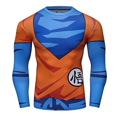 Superhelden Serie Party Shirt männlich Motion Joging Party im freien Stil Sport Long Sleeve (Goku, L) (Männer Superhelden)