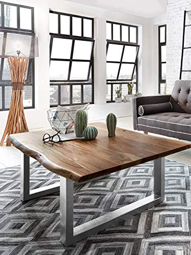 SAM Couchtisch 120x80 cm Ida, Akazie nussbaum, echte Baumkante, massiver Sofatisch aus Akazienholz, Metallbeine Silber, Baumkantentisch
