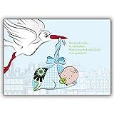 4 Baby Karten (Junge) Motiv Storch hellblau direkt mit eigenem Innendruck gestalten Motiv: süßes Baby mit Storch - Ihren persönlichen klassisch gestalteten Text drucken wir innen - einfach Schriftart auswählen
