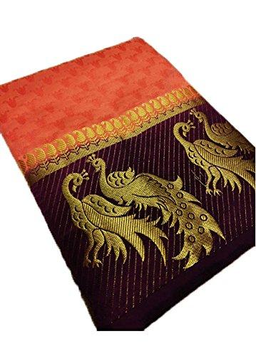 Nirja Creation Silk Cotton Saree With Blouse Piece (Nc-Od-Dblepeckok-9_Orange_Free Size)