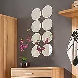 Spiegelfliesen rund 8er Set je Ø20cm Spiegelkachel Fliesenspiegel Dekospiegel Wanddekoration