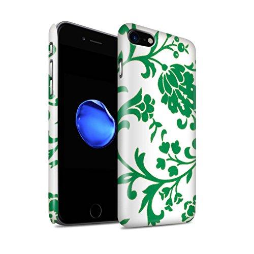 STUFF4 Glanz Snap-On Hülle / Case für Apple iPhone 8 / Blaue Blume Muster / Blumenmuster Kollektion Grüne Blume