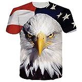 Chicolife Unisex 3D Amerikanische Flagge Eagle Bedruckte Rundhals Polyester Spandex T-Shirts T-Shirts Style 2