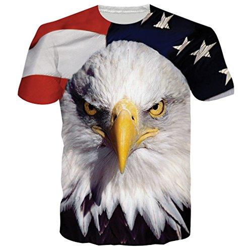 Chicolife Unisex Amerika-Flagge Eagle-Stern-Streifen druckte Sommer-Art- und Weisebeiläufige T-Shirts T-Stücke Art 2 (Herren-multi-streifen-shirt)
