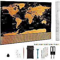 Pulchram Carte Du Monde A Gratter Avec Les Drapeaux De Tous PaysAccessoires 82x59cm