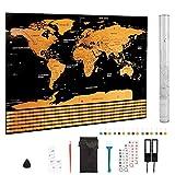 Pulchram Carte du Monde à Gratter avec Les Drapeaux de Tous Les Pays,Accessoires...