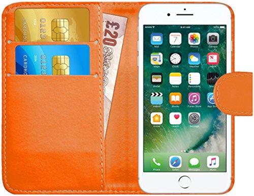 GizzmoHeaven iPhone 7 Plus Étui en cuir porte-carte housse coque case cover pour Apple iPhone 7 Plus avec protecteur d'écran et stylet - Gris Orange