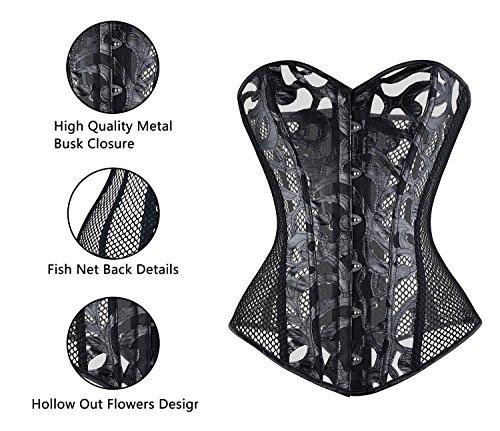 Imbry Damen Vintage Taillen Korsagen Blütenstickerei Netz Korsett Taillenmieder Top Schwarz