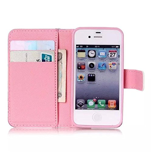 Gift_Source iPhone 4 hülle, iPhone 4S hülle, Brieftasche Ledertasche Bookstyle Schutzhülle Leder Flip case Etui für Apple iPhone 4/4S [ Eat Glitter Breakfast and Shine All Day ] E01-01-Smile