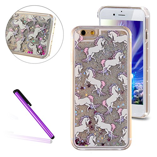 iPhone 6S Coque,iPhone 6 Coque,iPhone 6S Case,EMAXELERS Dauphin Series dur Plastique Transparent Clair Liquide Coque Bling Etui Housse pour iPhone 6S,Glitter Bling Sparkles Cute Blau Dauphin Design St Animal Series 3