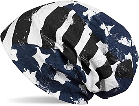 styleBREAKER Bonnet beanie au look vintage destroy avec drapeau USA étoiles et bandes, beanie long souple, unisexe 04024079, couleur:Bleu-blanc-noir
