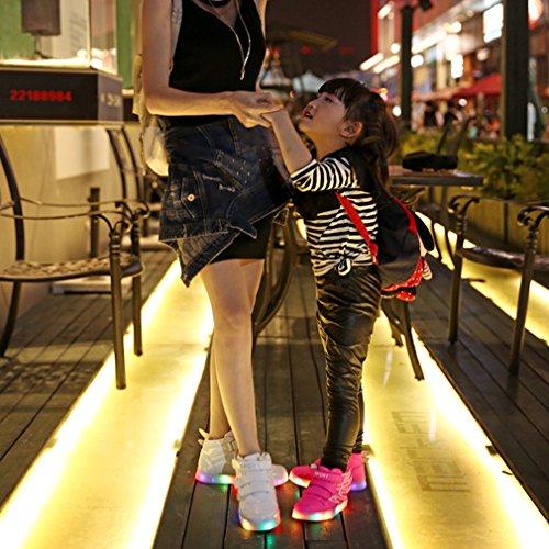 Dayiss Unisex-Kinder Jungen Mädchen 7 Farbe USB Aufladen LED Leuchtende Sportschuhe Hohe Sneakers Klettverschluss Turnschuhe Mit Flügel Weiß
