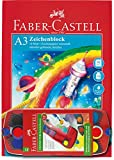 Faber-Castell 201298 - Deckfarbkasten Connector 12er + Gratis Zeichenblock, A3, FSC-Mix, 10 Blatt
