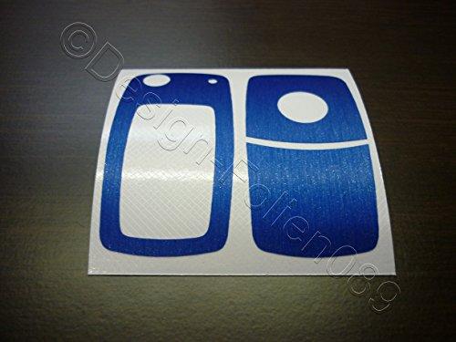Carbon Folie / Dekor Carbon Blau Gebürstet Schlüssel Key Touran Polo Passat V VI 6N Golf 4 5 6 7 GTI RS R Sharan T5 EOS Beetle 9N Tuning Touareg 2-und 3 Tasten und viele Modelle mehr