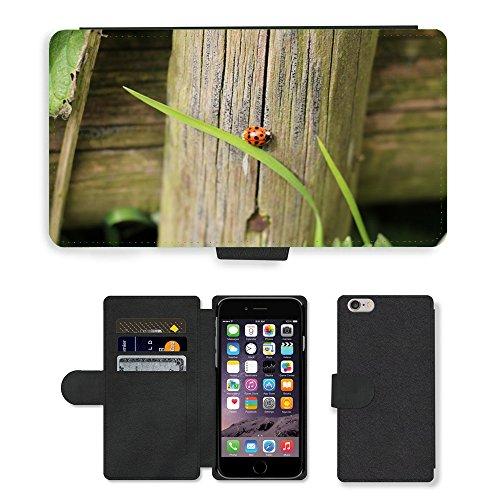 Just Mobile pour Hot Style Téléphone portable étui portefeuille en cuir PU avec fente pour carte//plante m00140295Coccinelle Beetle Nature/Apple iPhone 6Plus/insectes 14cm