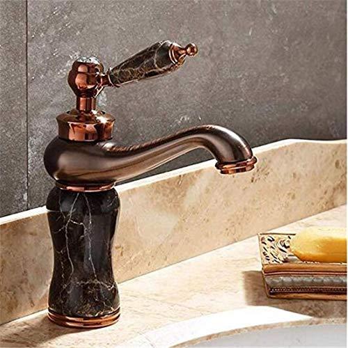 Modern Heiß Und Kalt Wasserhahn Vintage Überzugwasserhähne Waschtischmischer Ganzes Kupfer Natürliche Jade Der Beckenhahn, Der Ein Gesicht Wäscht